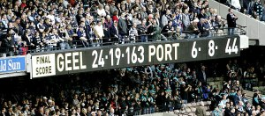 The scoreboard never lies. The MCG scoreboard at full time in the 2007 Toyota AFL Grand Final.